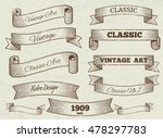 Stock vector vector vintage labels and banners collection classic art ribbon illustration 478297783