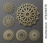 Stock vector islamic ornament vector persian motiff d ramadan islamic round pattern elements geometric 478298578