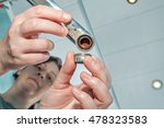 woman replaces the old clogged... | Shutterstock . vector #478323583