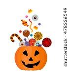 halloween pumpkin full candy... | Shutterstock .eps vector #478336549