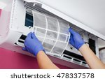 air conditioner cleaning. man... | Shutterstock . vector #478337578