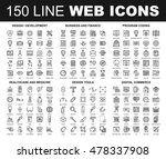 vector set of 150 flat line web ... | Shutterstock .eps vector #478337908