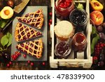 fruit and berry jam and pieces... | Shutterstock . vector #478339900