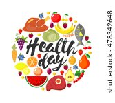 world health day. vector round... | Shutterstock .eps vector #478342648