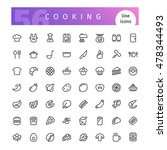 set of 56 cooking line icons... | Shutterstock .eps vector #478344493