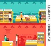 people in supermarket. vector... | Shutterstock .eps vector #478348459