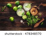 mojito cocktail with lime and... | Shutterstock . vector #478348570