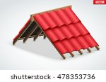 icon of roof with wave red... | Shutterstock .eps vector #478353736