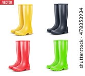 set of rain rubber boots.... | Shutterstock .eps vector #478353934
