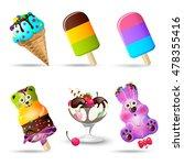 ice cream set. vector...