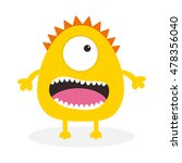 yellow monster with one eye ... | Shutterstock .eps vector #478356040