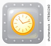 round orange clock game icon in ...