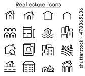 real estate icon set in thin... | Shutterstock .eps vector #478365136