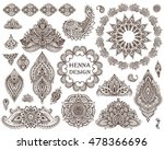 big vector set of henna floral... | Shutterstock .eps vector #478366696
