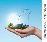 wind turbines and solar panels... | Shutterstock . vector #478373293