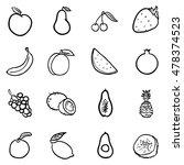 vector set of black doodle... | Shutterstock .eps vector #478374523