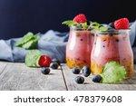 fresh homemade yogurt in a... | Shutterstock . vector #478379608