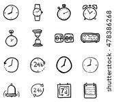 vector set of black doodle time ... | Shutterstock .eps vector #478386268