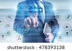 businessman is pressing button... | Shutterstock . vector #478393138