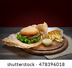 fast food dish. meat burger and ... | Shutterstock . vector #478396018