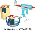 laundry basket and ironing... | Shutterstock .eps vector #478402228