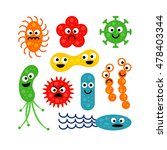 set of cute funny bacterias ... | Shutterstock .eps vector #478403344