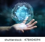 businessman in dark office...   Shutterstock . vector #478404094
