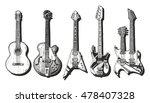 Hand Drawn Set Of Guitars....