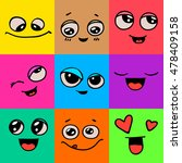 emotions. set of doodle faces.... | Shutterstock .eps vector #478409158