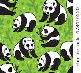 panda seamless pattern on green ... | Shutterstock .eps vector #478410550