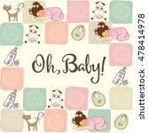 baby girl shower card with... | Shutterstock .eps vector #478414978