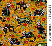 seamless pattern with calavera... | Shutterstock .eps vector #478415353