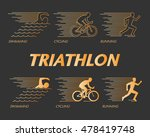 vector gold line logo triathlon.... | Shutterstock .eps vector #478419748