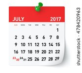 July 2017   Calendar. Isolated...
