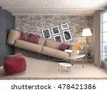 zero gravity sofa hovering in... | Shutterstock . vector #478421386