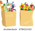 grocery shopping bags. | Shutterstock .eps vector #478421410