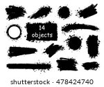 set of hand drawn brushes ... | Shutterstock .eps vector #478424740