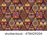 boho seamless flower pattern.... | Shutterstock .eps vector #478429204