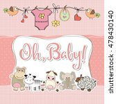 baby girl shower card with...   Shutterstock .eps vector #478430140