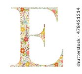 e letter with decorative floral ... | Shutterstock .eps vector #478431214