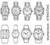 vector set of sketch wrist... | Shutterstock .eps vector #478437043