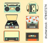 set of retro music gadgets from ... | Shutterstock .eps vector #478437274