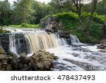 Small photo of Waterfall of ruined ancient windmill on the river Viata. Belarus, Miorskiy district.