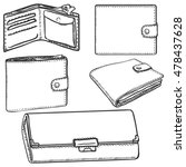 vector set of sketch wallets | Shutterstock .eps vector #478437628