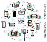 selfie graphic flat icon set.... | Shutterstock .eps vector #478444084
