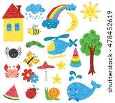 children drawings set. colorful ...   Shutterstock .eps vector #478452619