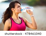 woman athlete takes a break ... | Shutterstock . vector #478461040