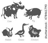 vector flat farm animal icon....