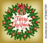merry christmas lettering with... | Shutterstock .eps vector #478480789