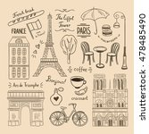 paris hand drawn illustrations. ... | Shutterstock .eps vector #478485490